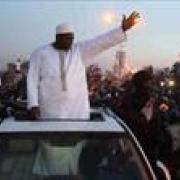 President Barrow receives rousing welcome